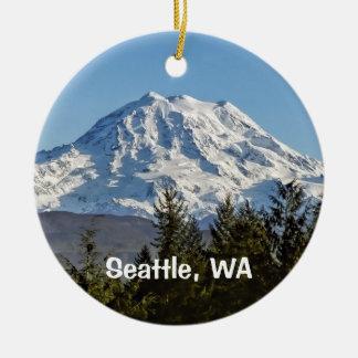 Mt. Rainier Keepsake Double-Sided Ceramic Round Christmas Ornament
