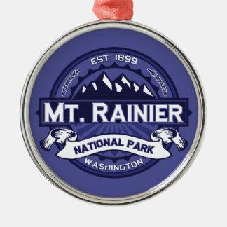 Mt. Rainier Midnight Round Metal Christmas Ornament