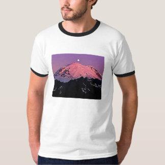 Mt Rainier Moon Night Snow Winter Sky T-Shirt