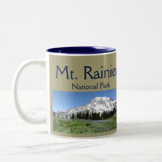 Mt Rainier NP Collage Two-Tone Coffee Mug