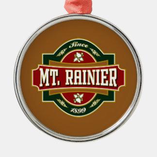 Mt Rainier Old Label Tile.png Round Metal Christmas Ornament