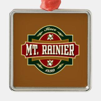Mt Rainier Old Label Tile.png Square Metal Christmas Ornament