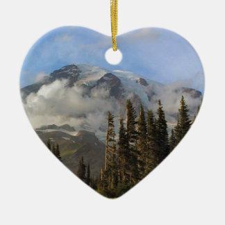 Mt Rainier Double-Sided Heart Ceramic Christmas Ornament