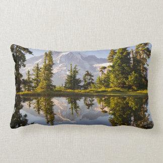 Mt. Rainier reflected in a tarn near Plummer Peak Lumbar Pillow