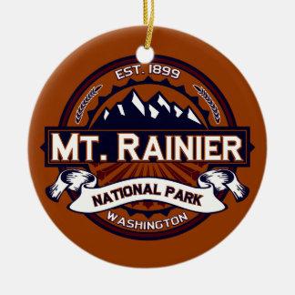 Mt. Rainier Vibrant Double-Sided Ceramic Round Christmas Ornament