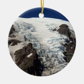 Mt. Rainier Views Double-Sided Ceramic Round Christmas Ornament