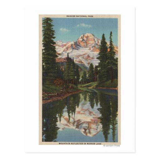 Mt. Rainier, WA - Mirror Lake with Mt. Reflectio Postcard