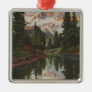 Mt. Rainier, WA - Mirror Lake with Mt. Reflection Metal Ornament