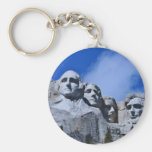 Mt. Rushmore Landmark Basic Round Button Keychain