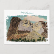 Mt. Rushmore Painted Vintage Postcard