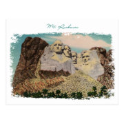 Mt. Rushmore Painted Vintage Postcard