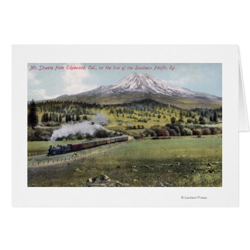 Mt. Shasta and Southern Pacific Rail Greeting Card