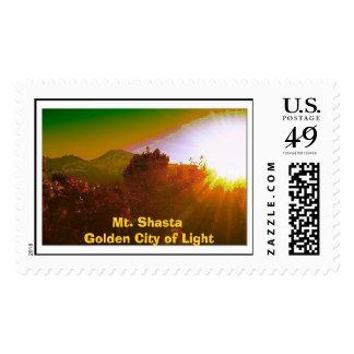 Mt. Shasta Golden City of Light Postage Stamps