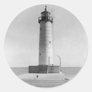 Mt. Sheboygan Pier Lighthouse, Wisconsin, 1915 Round Stickers