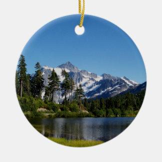 Mt Shuksan From Picture Lake Ceramic Ornament