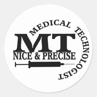MT SLOGAN NICE AND PRECISE MEDICAL LABORATORY TECH ROUND STICKER