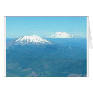 Mt St Helens and Mt Adams from air Card
