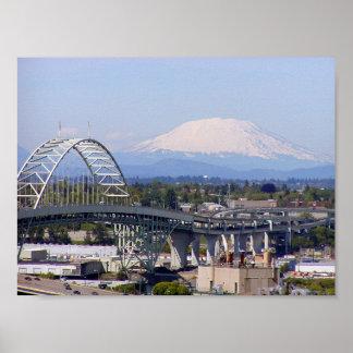 Mt St Helens & Fremont Bridge Poster