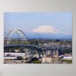 Mt St Helens y poster del puente de Fremont
