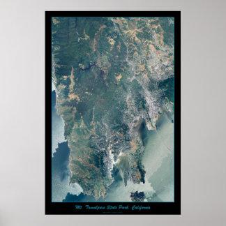 Mt. Tamalpais, Marin County CA satellite print