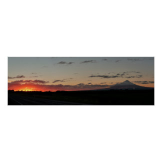 Mt. Taranaki Highway Sunset Poster
