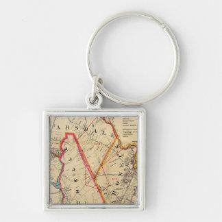 Mt. Vernon, E Chester, Pelham, New Rochelle, NY Silver-Colored Square Keychain