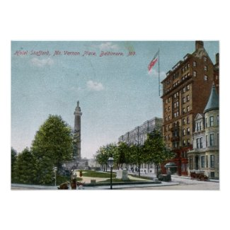 Mt. Vernon Place, Baltimore 1910 Vintage print