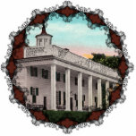 "Mt. Vernon Vintage Ornament<br><div class=""desc"">Vintage postcard of Mt. Vernon Mansion,  the home of George Washington,  first President of the United States. Reprinted on this beautiful Christmas Ornament with Victorian filagree trim.</div>"