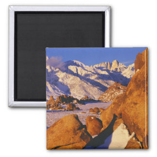 Mt. Whitney and Lone Pine peak 2 Inch Square Magnet