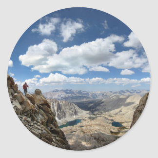 Mt Whitney Trail Over Hitchcock and Guitar lakes 2 Classic Round Sticker