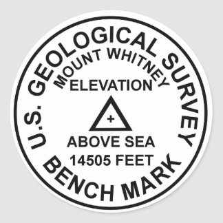 Mt. Whitney USGS Style Benchmark Classic Round Sticker