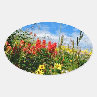 Mt. Wildflowers Oval Sticker