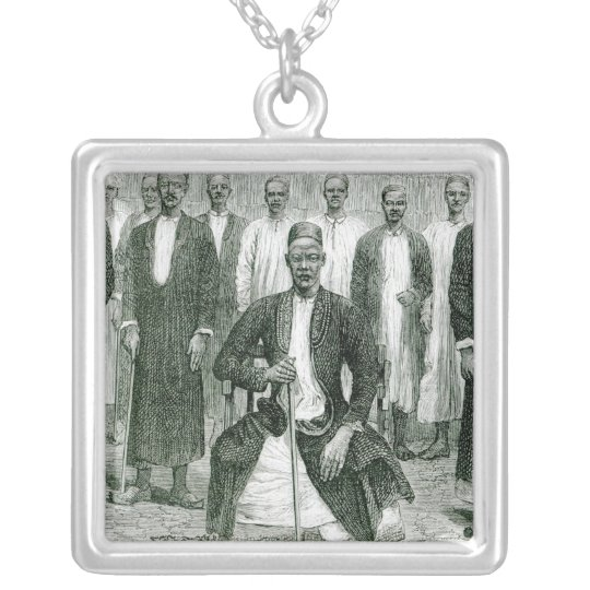 Mtesa,the Emperor of Uganda and other chiefs Silver Plated Necklace