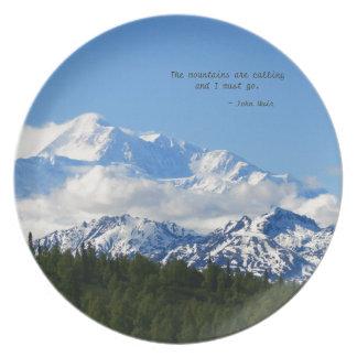 Mtns are calling / Denali - J Muir Dinner Plate