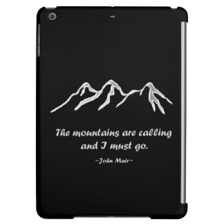 Mtns are calling/Snowy blizzard on black Cover For iPad Air