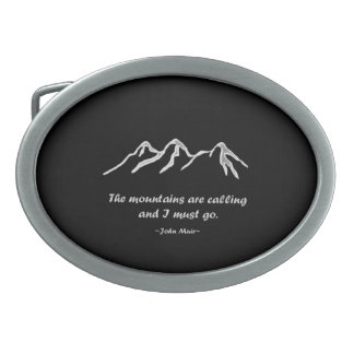 Mtns are calling/Snowy blizzard on Black Design Belt Buckle