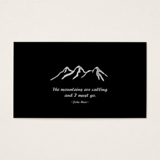 Mtns are calling/Snowy blizzard on Black Design Business Card