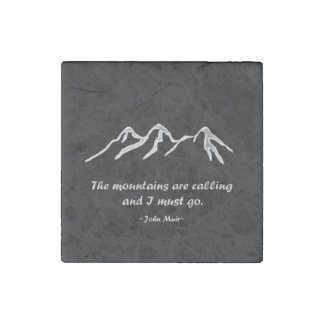 Mtns are calling/Snowy blizzard on Black Design Stone Magnet