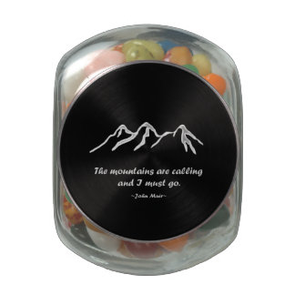 Mtns are calling/Snowy blizzard on Black Design Glass Candy Jar