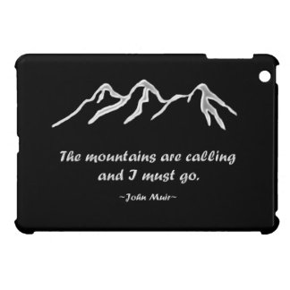 Mtns are calling/Snowy blizzard on Black Design iPad Mini Cover