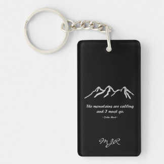 Mtns are calling/Snowy blizzard on Black Design Rectangular Acrylic Keychains
