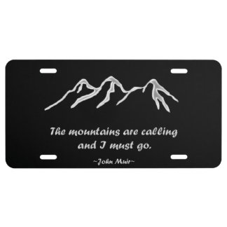 Mtns are calling/Snowy blizzard on Black Design License Plate