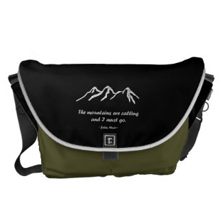 Mtns are calling/Snowy blizzard on Black Design Messenger Bags