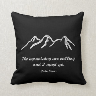 Mtns are calling/Snowy blizzard on Black Design Throw Pillow