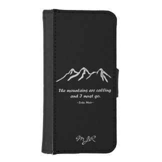 Mtns are calling/Snowy blizzard on black iPhone SE/5/5s Wallet