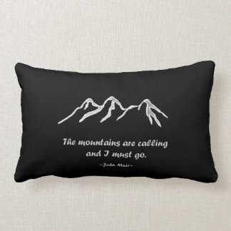 Mtns are calling/Snowy blizzard on black Lumbar Pillow
