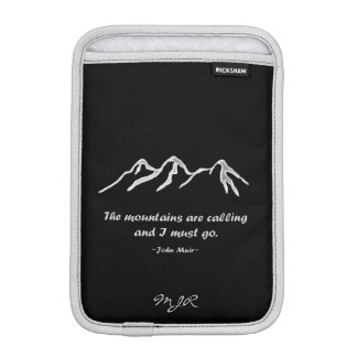 Mtns are calling/Snowy blizzard on black Sleeve For iPad Mini