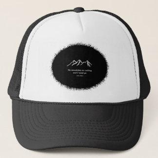 Mtns are calling/Snowy blizzard on Black splatter Trucker Hat