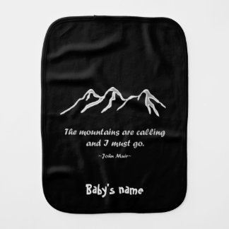 Mtns are calling/Snowy blizzard on black Baby Burp Cloths