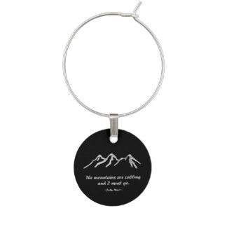 Mtns are calling Snowy blizzard on black Wine Glass Charm